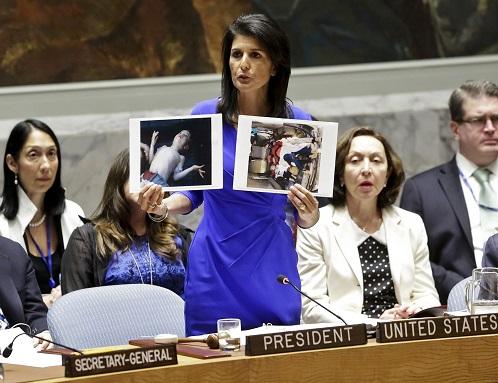 نیکی هیلی: مسئولیت کشتار شیمیایی خان شیخون به عهده ایران و رژیم اسد است