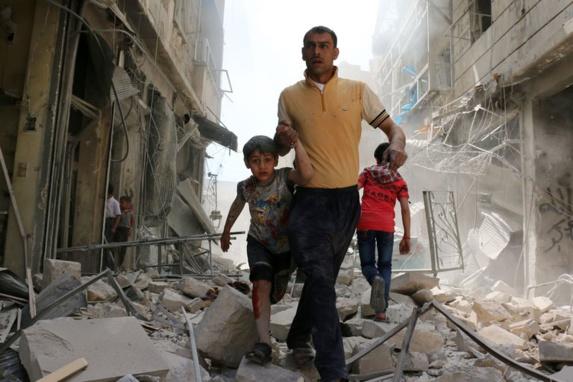 بمباران حلب سوریه توسط جنگنده های روسیه