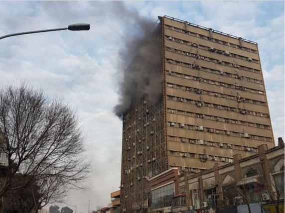 کشته شدن دهها نفربر اثر آتش سوزی و ریزش ساختمان پلاسکو در تهران