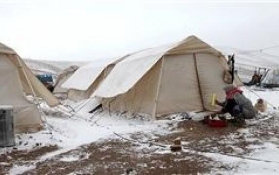 بارش برف و باران و سرمای هوا در مناطق زلزلهزده کردستان + عکس
