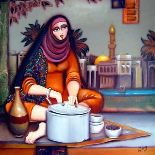 زن باقلا فروش - تابلویی از ناصر ثامر نقاش عراقی
