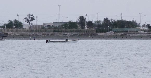 """نمایی از""""شط العرب""""،رودخانه مرزی ایران وعراق"""