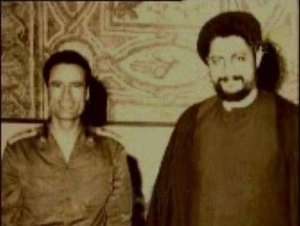 امام موسی صدر در کنار سرهنگ معمر القذافی