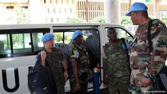 به گفتهی دبیر کل سازمان ملل به سوی ناظران صلح این سازمان هنگامی که قصد بازدید ازمحل وقوع کشتار جدید در حماه را داشتهاند، تیراندازی شده است