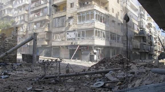 بمباران وحشیانه شهر حلب توسط ارتش جنایتکار اسد