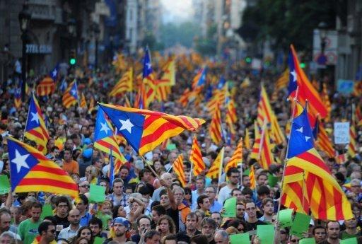 تظاهرات میلیونی در بارسلون اسپانیا برای استقلال منطقه کاتالونیا
