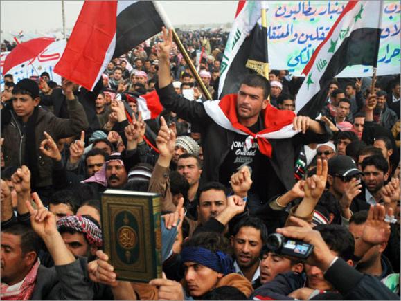 پنج نفر کشته و ۶۵ نفر زخمی نتیجه اعتراضات ضد ایرانی و ضد نوری المالکی دیروز جمعه در عراق است