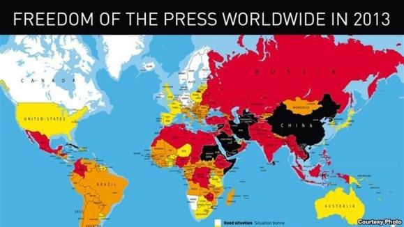 رتبه ایران از نظر آزادی مطبوعات: ۱۷۴ در میان ۱۷۹ کشور