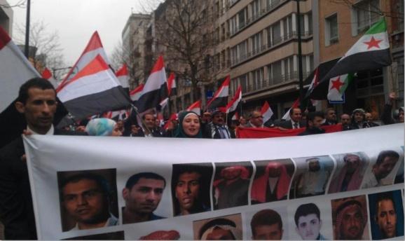 تظاهرات صدها فعال عرب احوازی در مقابل پارلمان اتحادیه اروپا