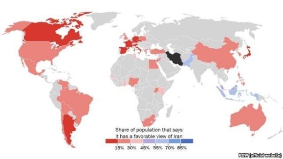 نظرسنجی پیو: کراهیت و نا محبوبی ایران به لبنان و مناطق فلسطینی نیز رسیده است