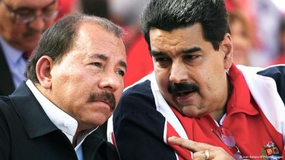 دانیل اورتگا (چپ) و نیکلاس مادورو روسای جمهوری نیکاراگوئه و ونزوئلا