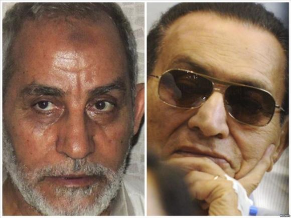 محاکمه مبارک و رهبر اخوانالمسلمین با اتهامی مشابه آغاز شد