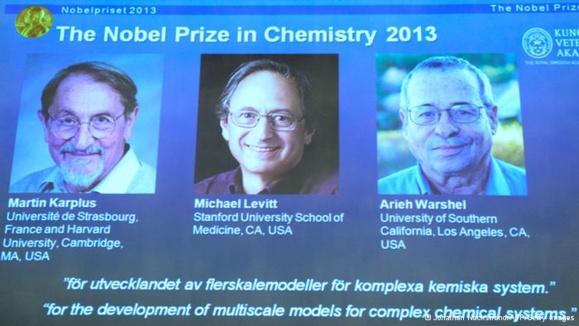 سه محقق آمریکایی برنده جایزه نوبل شیمی ۲۰۱۳ شدند