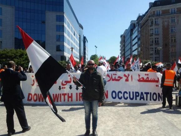 مشاركت كم نظير عربهاى احوازى در نهمين سالگرد انتفاضه در مقابل پارلمان اروپا در بروكسل