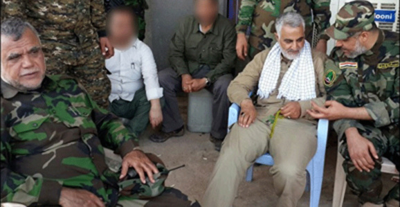 قاسم سلیمانی در کنار هادی العامری یکی از رهبران حزب الدعوه و متهم به جنایت علیه بشریت نزد اهل سنت عراق