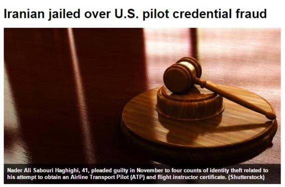 خلبان قلابی ایرانی در امریکا به زندان محکوم شد