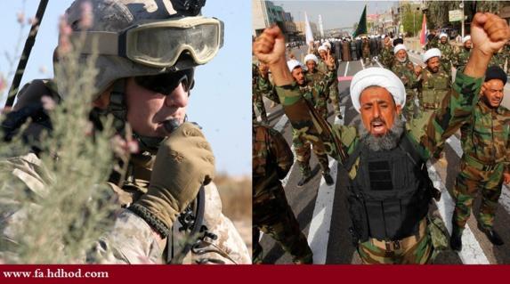 استقرار فرماندهان سپاه تروریستی قدس در کنار نظامیان امریکایی در پایگاه نظامی الحبانیه عراق