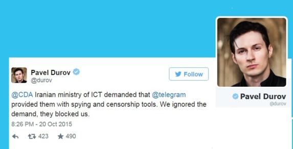 مسدود شدن تلگرام در پی رد درخواست دولت ایران برای جاسوسی از شهروندانش
