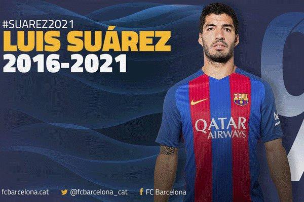 قرارداد لوئیس سوارز برای 5 سال دیگر با بارسلونا تمدید شد
