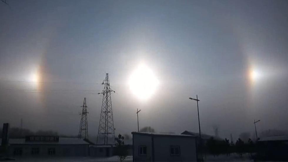 پدیده «ظهور سه خورشید» در آسمان چین+ تصاویر