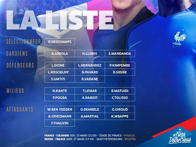 لیست تیم ملی فراسنه