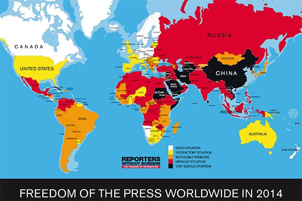 ایران در میان ده کشور سیاه جهان از نظر آزادی مطبوعات