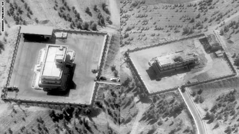 قبل وپس از بمباران یکی از مراکز تجمع داعش