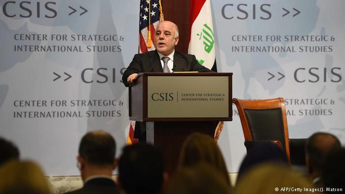 حیدر عبادی، نخست وزیر عراق، در حال سخنرانی در مرکز مطالعات استراتژیک واشنگتن