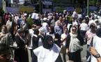 فیلم؛ اعتراض زنان کفنپوش: دولت ورشکسته