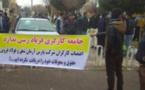 اعتراض کارگران دو کارخانه مقابل فرمانداری تاکستان